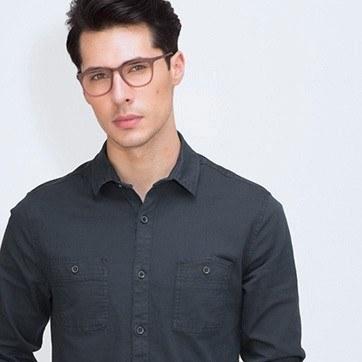 Matte Brown Providence S -  Fashion Acetate Eyeglasses - model image