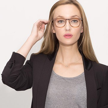 Brown Striped Providence S -  Fashion Acetate Eyeglasses - model image
