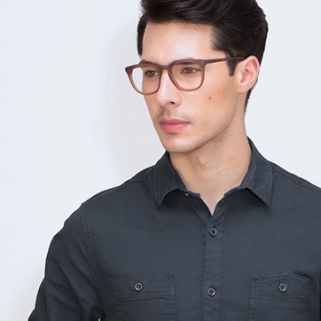 Matte Brown Providence M -  Geek Acetate Eyeglasses - model image