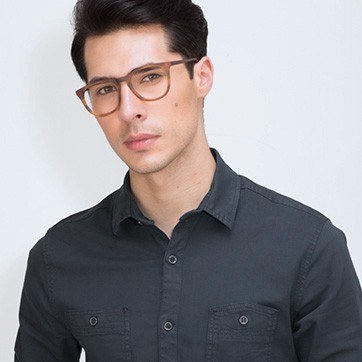 Brown Striped Providence M -  Classic Acetate Eyeglasses - model image