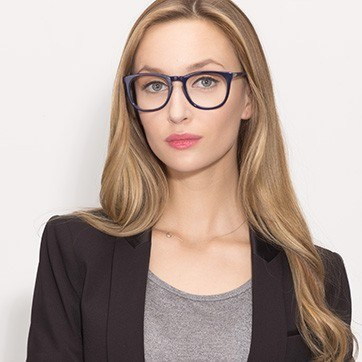Navy Providence M -  Colorful Acetate Eyeglasses - model image