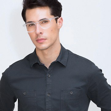 Matte Clear Rhode Island M -  Geek Acetate Eyeglasses - model image