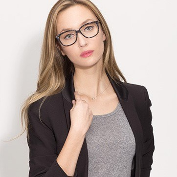 Gray Floral Escapee S -  Fashion Acetate Eyeglasses - model image