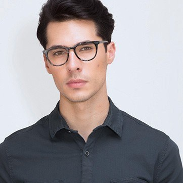 Gray Floral Flume M -  Fashion Acetate Eyeglasses - model image