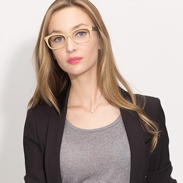 Yellow Panama M -  Fashion Acetate Eyeglasses - model image