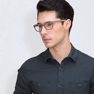 Brown Striped Panama M -  Fashion Acetate Eyeglasses - model image
