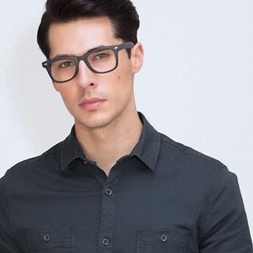 Matte navy Atlee -  Geek Plastic Eyeglasses - model image