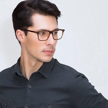 Brown Default -  Acetate Eyeglasses - model image