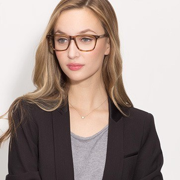 Brown Striped Default -  Acetate Eyeglasses - model image