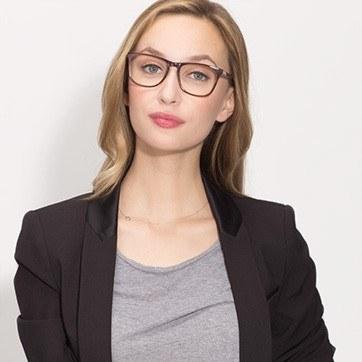 Brown Striped Skyline -  Fashion Acetate Eyeglasses - model image