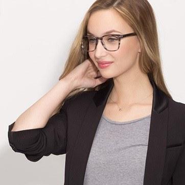 Gray Striped  Samson -  Acetate Eyeglasses - model image