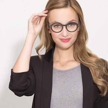 Matte Green Aprem -  Acetate Eyeglasses - model image