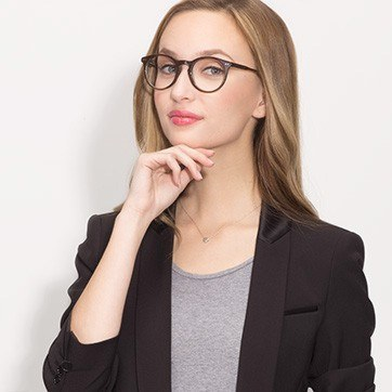 Brown Neptune -  Acetate Eyeglasses - model image