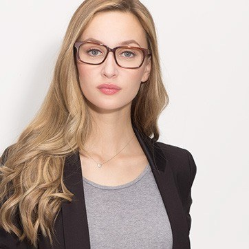 Brown Edit -  Acetate Eyeglasses - model image