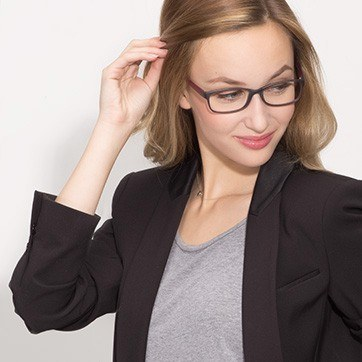 Matte Gray Beads -  Plastic Eyeglasses - model image