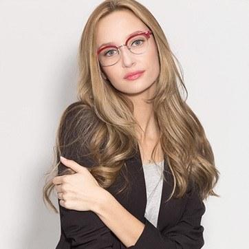 Red Annabel -  Designer Acetate Eyeglasses - model image