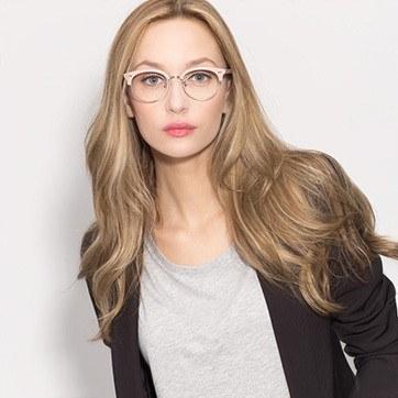 Pink Annabel -  Designer Acetate Eyeglasses - model image