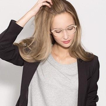 Ivory/Silver Get Lucky -  Fashion Acetate Eyeglasses - model image