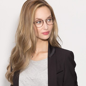 Brown/Silver Get Lucky -  Fashion Acetate Eyeglasses - model image