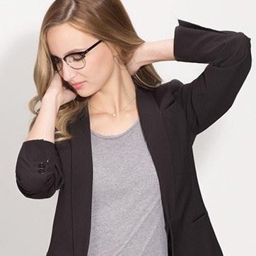 Black Silver Sweet Janet -  Fashion Acetate Eyeglasses - model image