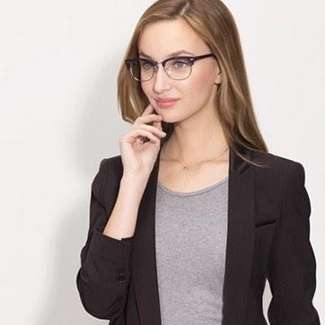 Navy Silver Sweet Janet -  Fashion Acetate Eyeglasses - model image