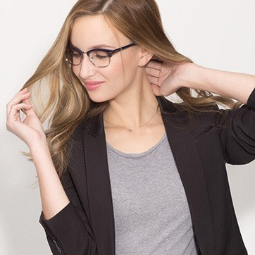 Navy Silver Sweet Jane -  Fashion Acetate Eyeglasses - model image