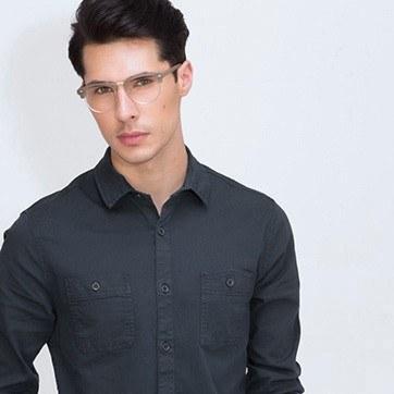 Brown Esteban M -  Wood Texture Eyeglasses - model image