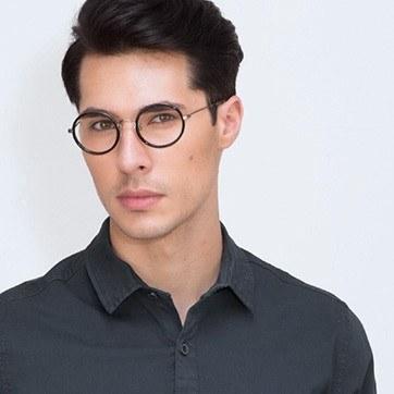 Black Gemini -  Designer Acetate Eyeglasses - model image