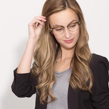 Brown Kinjin -  Designer Acetate Eyeglasses - model image