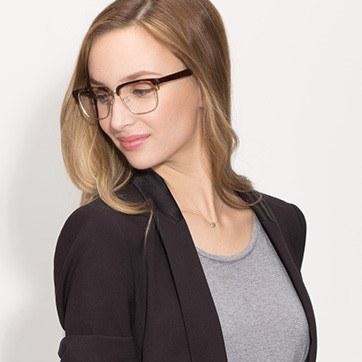 Tortoise Arcade -  Designer Acetate Eyeglasses - model image