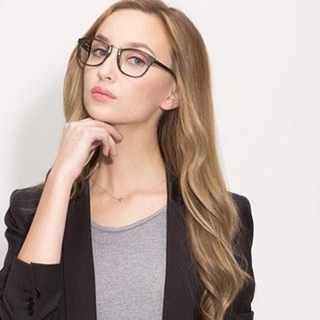 Gray Striped Tomorrow -  Acetate Eyeglasses - model image