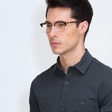 Tortoise Bansai -  Designer Acetate Eyeglasses - model image