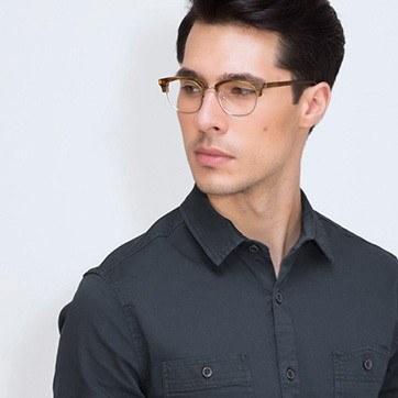 Brown Striped Bansai -  Acetate Eyeglasses - model image