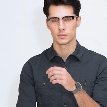 Black Bansai -  Acetate Eyeglasses - model image