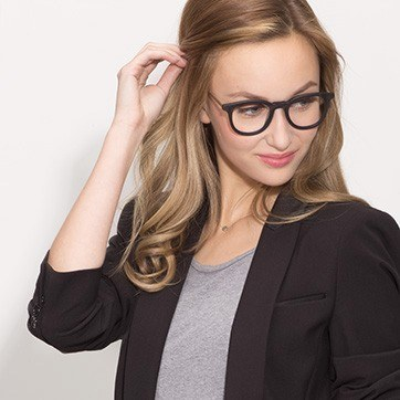 Matte Black  Vendome -  Geek Acetate Eyeglasses - model image