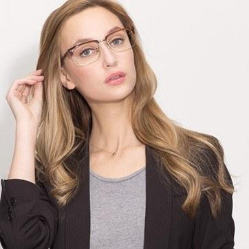 Striped Brown The Woods -  Designer Acetate Eyeglasses - model image