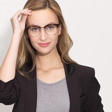 Tortoise Borderline -  Geek Acetate Eyeglasses - model image