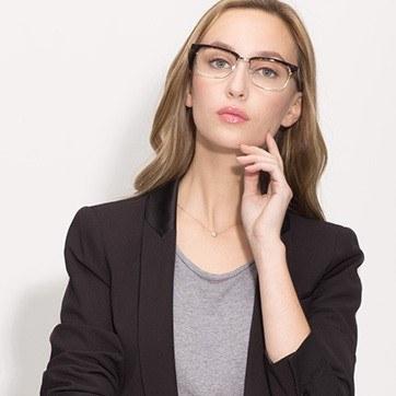Tortoise Levy -  Designer Acetate Eyeglasses - model image