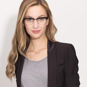 Black Levy -  Designer Acetate Eyeglasses - model image