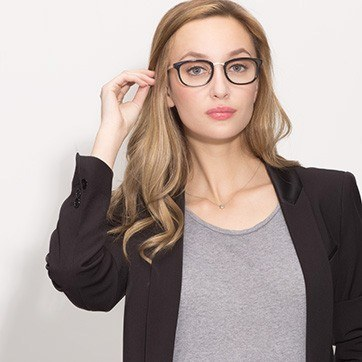 Black First Light -  Designer Acetate Eyeglasses - model image