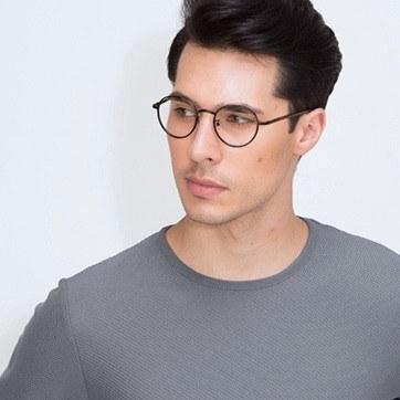 Dark Tortoise Anywhere -  Designer Acetate Eyeglasses - model image