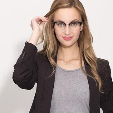 Black Eloise -  Designer Acetate Eyeglasses - model image