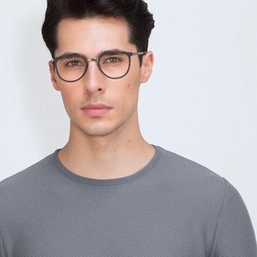 Black Alpha -  Acetate Eyeglasses - model image