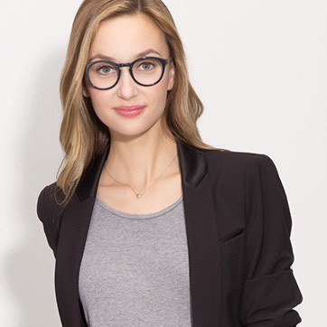 Navy White Moon -  Acetate Eyeglasses - model image