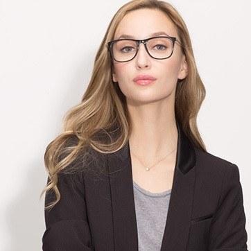 Black Contrast -  Acetate Eyeglasses - model image