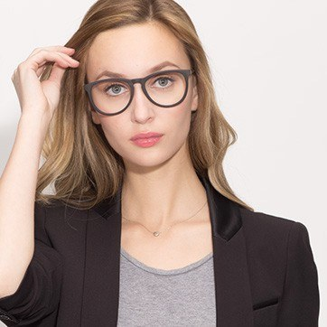 Matte Black Ultraviolet -  Acetate Eyeglasses - model image
