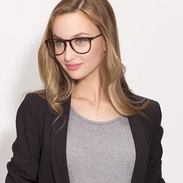 Brown Striped Ultraviolet -  Acetate Eyeglasses - model image