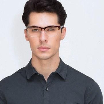 Tortoise Benoit -  Designer Acetate Eyeglasses - model image