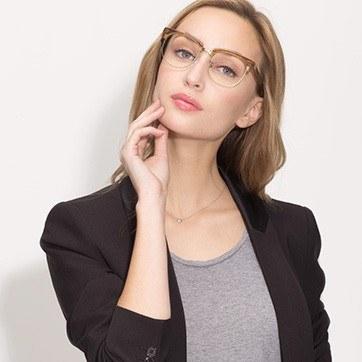Brown Skyscraper -  Geek Acetate Eyeglasses - model image
