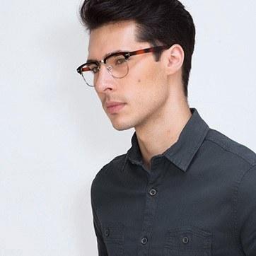 Brown Coexist -  Metal Eyeglasses - model image